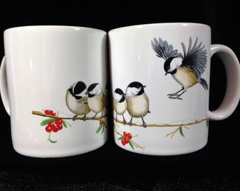 Pair - Chickadee Bird Coffee Mug Mint Ceramic National Wildlife Federation Retired Made in USA
