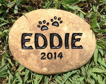Pet memorial personalized small dog or cat sandcarved river stone