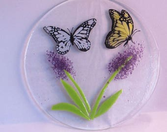 Fused Glass Butterflies and Flowers- garden-butterfly-gift- panel-flowers-butterflies-lilac-lavender-mothers day-mother-mum