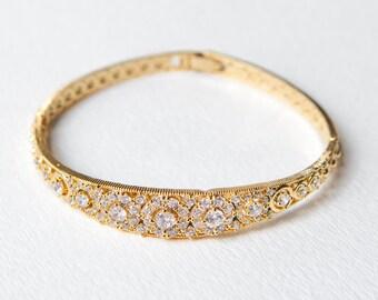 Gold Bangle Bridal Jewelry, Bridal Bracelet, Wedding Gold Bracelet, Bridal Accessories, Wedding Jewelry, Crystal Wedding Bracelet B251G