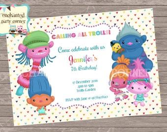 Colourful Trolls Birthday Thank You Card - Listing for Keri