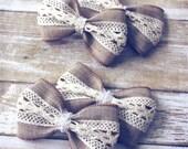 "Burlap Crochet Lace Hair Bows, Vintage Inspired, Baby Girls Hair Bows, Toddler Hair Bows, Hair Clips, 4"" Hair Bows, Pigtail Easter Hair Bows"