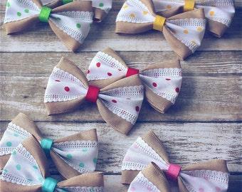 "SALE Burlap Polka Dot Hair Bows, Vintage Inspired, Baby Girls Hair Bows, Toddler Hair Bows, Hair Clips, 4"" Hair Bows, Spring Summer Hair Bow"