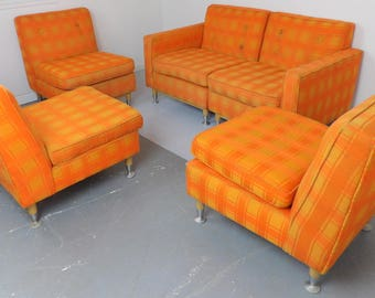 Mid Century Modern Couch Sofa Modular Hollywood Regency Living Room Seating Low Profile Orange Fabric Office Reception Free Shipping!