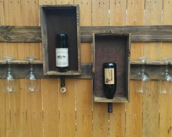 Wine rack handmade from recycled fence