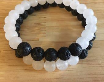 White Jade and Lava bracelet set