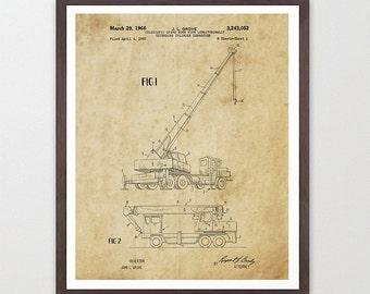 Construction Patent - Crane Patent Print - Crane Poster - Crane Art - Construction Art - Construction Poster - Architecture - Building