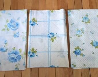 Vintage 1970s Blue Roses Cotton Pillowcases!