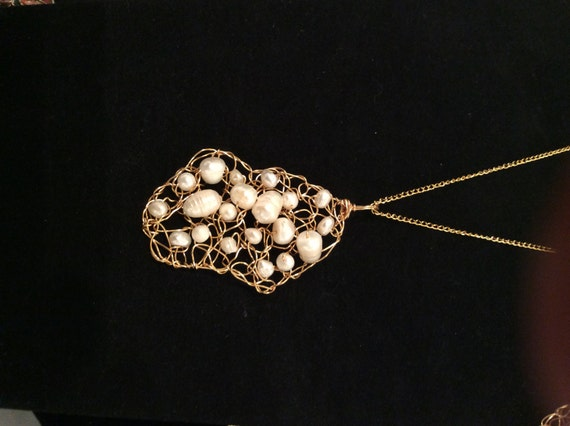 Handmade 14k gold-filled wire crochet necklace with pearls