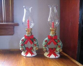 Set of 2 vintage Hurricane candle lamps. 1950s Christmas decorations home decor collectibles. Made in Japan.