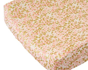 Coral and Gold Sparkle Changing Pad Cover