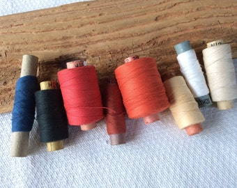 Thick cotton thread, vintage thread spools lot of 8, sewing supplies made in Soviet Union for crafts, sewing, textile art
