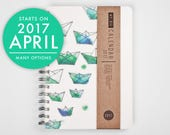 2017 Planner with a high quality paper! Origami boat A5 Diary! Weekly daily Calendar Calendario Kalender Agenda Journal! March April Undated