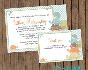 Turtle Shower Invitation - Turtle Invitation - Neutral invitation - Unisex Baby Shower Invitation - Personalised Invitation - Digital File!
