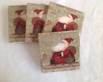 Natural Stone Santa Coasters, Christmas Coasters, Beverage Coasters, Beer Coasters