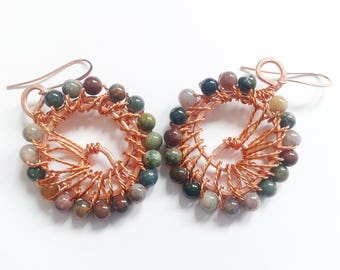 indian agate earrings, handmade earrings, ethnic earrings, semi preciou stone earrings, copper wire earrings, italian earrings, ethnic