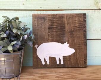 White Pig Wood Sign