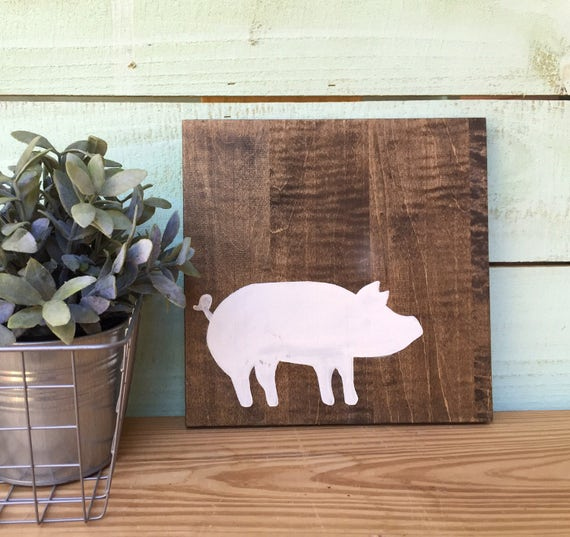 White Pig Wood Sign