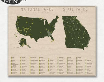 NATIONAL and STATE PARK Map of Georgia and the United States, Fine Art Photographic Print for the home decor.