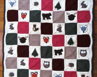 Crochet Pattern Tutorial | Woodland Granny Square Afghan | Woodland Animals Crochet Blanket