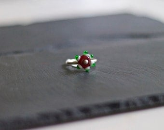 Fine Silver and Glass Ring - Size 7
