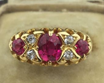 Antique 1917 Chester 18ct gold dress ring with Rubies and Diamonds