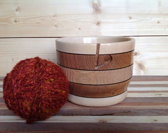 Handmade Wood Yarn Bowl crafted from Oak and Maple- 17YBOAMP001