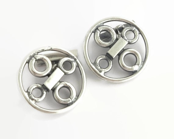 Mid century sterling silver cuff links, modernist industrial style, large circles with inner circles, stamped sterling, eagle's head, 24 gms