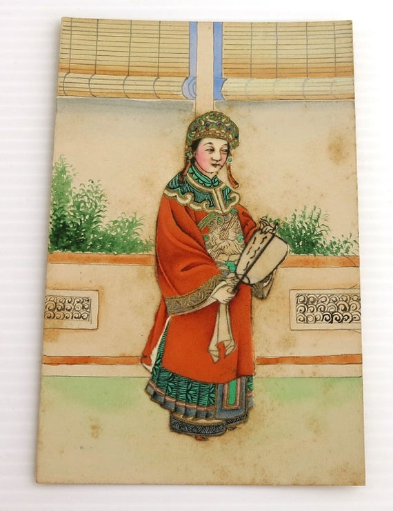 Vintage hand painted Chinese collage postcard of wealthy woman in elaborate costume with gilding, pencil, paints, gilt, postcard never used