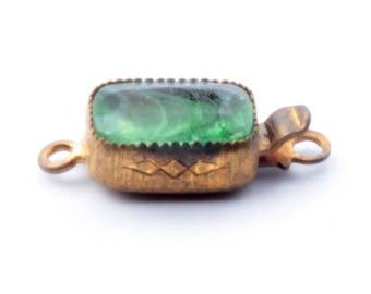 Vintage Czech Art Deco gold tone green glass rhinestone 1 strand necklace clasp closer signed Czechoslovakia B441-162