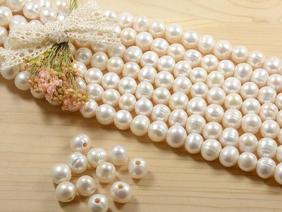 11mm - 12mm large hole (2.5mm) genuine freshwater pearls, natuarl round shape, natural white -10 pcs/ order