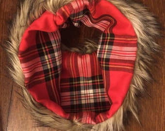 Faux Fur and Red Plaid Cowl Scarf