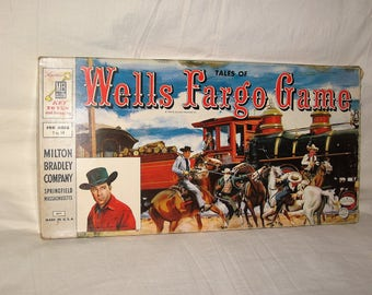 vintage 1959 milton bradley tales of well fargo board game