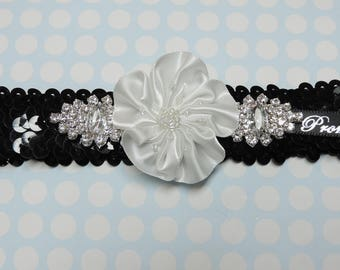Black sequin prom garter with white flower and rhinestones,  Black prom garter,  Black and white prom garter