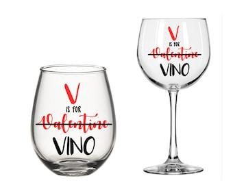 V is for Valentine Vino Wine Glass Gift