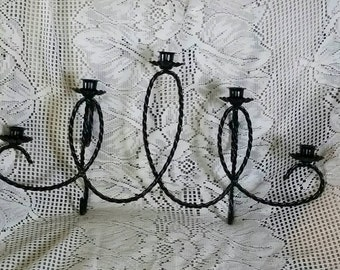 Black Metal Candelabra Wall Hanging Sconce Upcycled Vintage Twisted Rope 5 Candle Holder Traditional or Goth Home Decor Retro Candlestick