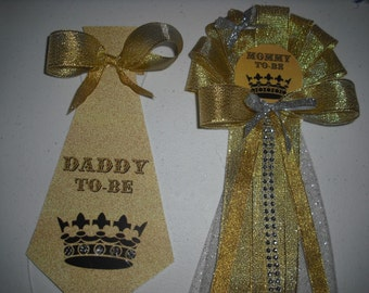 Baby shower Mommy To be corsage and Daddy to be Prince/King Tie
