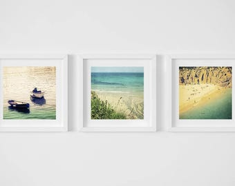 Seaside photographs, vintage style, discounted set 8x8, three 8x8, art and collectables, photography, Vintage Beach, Two Boats, Sand and Sea
