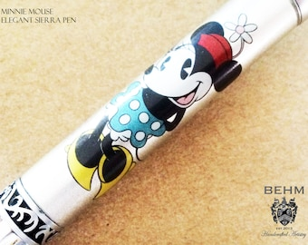 Ballpoint Pen - Handmade with Minnie Mouse Artwork - FREE Leather Pen Case!!