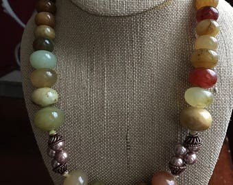 Beautiful chunky necklace !Soocho Jade in multicolors with copper and Swarovski pearls and crystals