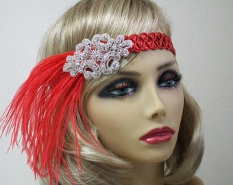 1920s headpiece, Flapper headpiece, Red 1920s headband, Feather headband, 1920s dress, Sequin headband, 1920s hair accessory, Roaring 20s