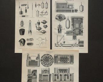 1895 Lot of 3 antique prints of GLASS PRODUCTION, instruments and tools. Glass fabrication. 122 years old lithographs