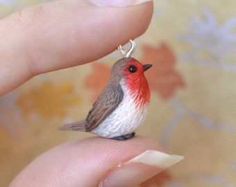 Hand Sculpted Robin Pendant with Chain
