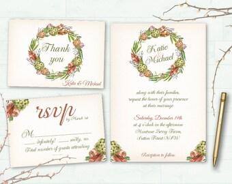 Boho boda invitación imprimible acuarela Floral invitación de la boda guirnalda Floral boda Bohemia invita a románticos de boda Floral