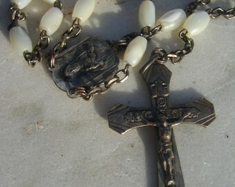 Antique french  rosary / mother of pearl rosary with antique medals 1800s  antique french rosary