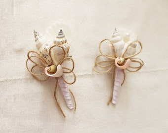 "Shell Boutonniere  ""Sea "", Wedding Sea Shell, Beach Wedding"