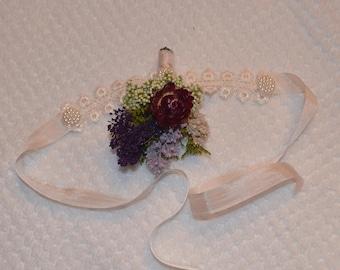 Wedding corsage, Wrist corsage, Purple corsage, Dried flower corsage - Custom Made to Order