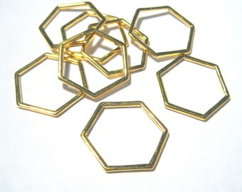 Gold Plated Hollow Hexagons Links Connectors 22mm