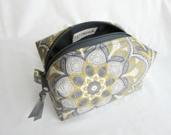 Boxy pouch cosmetic bag yellow gray floral medallion with gray (BP16-010)