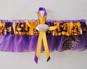 Louisiana State University Fabric Wedding Bridal Garter Keepsake Purple Prom  Football Charm